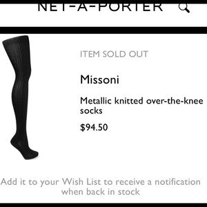 Missoni Metallic Black Zigzag over the knee Socks